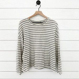 Vince heather gray and white striped long sleeve